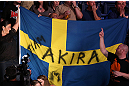 NOTTINGHAM, ENGLAND - SEPTEMBER 29:  Fans hold a flag in support of Akira Corassani during his featherweight fight against Andy Ogle at the UFC on Fuel TV event at Capital FM Arena on September 29, 2012 in Nottingham, England.  (Photo by Josh Hedges/Zuffa LLC/Zuffa LLC via Getty Images)