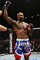 NOTTINGHAM, ENGLAND - SEPTEMBER 29:  Jimi Manuwa reacts after defeating Kyle Kingsbury during their light heavyweight fight at the UFC on Fuel TV event at Capital FM Arena on September 29, 2012 in Nottingham, England.  (Photo by Josh Hedges/Zuffa LLC/Zuffa LLC via Getty Images)