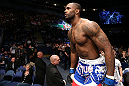 NOTTINGHAM, ENGLAND - SEPTEMBER 29:  Jimi Manuwa enters the Octagon before his light heavyweight fight against Kyle Kingsbury at the UFC on Fuel TV event at Capital FM Arena on September 29, 2012 in Nottingham, England.  (Photo by Josh Hedges/Zuffa LLC/Zuffa LLC via Getty Images)