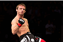 NOTTINGHAM, ENGLAND - SEPTEMBER 29:  Brad Pickett reacts after knocking out Yves Jabouin during their bantamweight fight at the UFC on Fuel TV event at Capital FM Arena on September 29, 2012 in Nottingham, England.  (Photo by Josh Hedges/Zuffa LLC/Zuffa LLC via Getty Images)