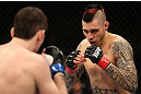 NOTTINGHAM, ENGLAND - SEPTEMBER 29:  (R-L) Dan Hardy squares off with Amir Sadollah during their welterweight fight at the UFC on Fuel TV event at Capital FM Arena on September 29, 2012 in Nottingham, England.  (Photo by Josh Hedges/Zuffa LLC/Zuffa LLC via Getty Images)