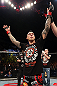 NOTTINGHAM, ENGLAND - SEPTEMBER 29:  Dan Hardy reacts after defeating Amir Sadollah during their welterweight fight at the UFC on Fuel TV event at Capital FM Arena on September 29, 2012 in Nottingham, England.  (Photo by Josh Hedges/Zuffa LLC/Zuffa LLC via Getty Images)