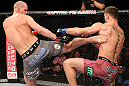 NOTTINGHAM, ENGLAND - SEPTEMBER 29:  (L-R) Strefan Struve kicks Stipe Miocic during their heavyweight fight at the UFC on Fuel TV event at Capital FM Arena on September 29, 2012 in Nottingham, England.  (Photo by Josh Hedges/Zuffa LLC/Zuffa LLC via Getty Images)