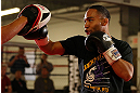 MINNEAPOLIS, MN - OCTOBER 02:  John Dodson works out for media and fans during an open training session at Cellar Kickboxing and Martial Arts on October 2, 2012 in Minneapolis, Minnesota.  (Photo by Josh Hedges/Zuffa LLC/Zuffa LLC via Getty Images)