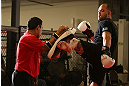 MINNEAPOLIS, MN - OCTOBER 02:  Travis Browne works out for media and fans during an open training session at Cellar Kickboxing and Martial Arts on October 2, 2012 in Minneapolis, Minnesota.  (Photo by Josh Hedges/Zuffa LLC/Zuffa LLC via Getty Images)