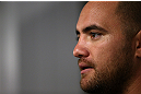 MINNEAPOLIS, MN - OCTOBER 02:  Travis Browne answers questions from media during an open training session at Cellar Kickboxing and Martial Arts on October 2, 2012 in Minneapolis, Minnesota.  (Photo by Josh Hedges/Zuffa LLC/Zuffa LLC via Getty Images)