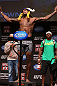 MINNEAPOLIS, MN - OCTOBER 04:  Michael Johnson weighs in during the UFC on FX weigh in at Pantages Theater on October 4, 2012 in Minneapolis, Minnesota.  (Photo by Josh Hedges/Zuffa LLC/Zuffa LLC via Getty Images)