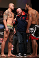"MINNEAPOLIS, MN - OCTOBER 04:  Opponents Travis Browne (L) and Antonio ""Bigfoot"" Silva (R) are separated by UFC President Dana White during the UFC on FX weigh in at Pantages Theater on October 4, 2012 in Minneapolis, Minnesota.  (Photo by Josh Hedges/Zuffa LLC/Zuffa LLC via Getty Images)"