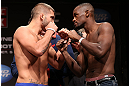 MINNEAPOLIS, MN - OCTOBER 04:  (L-R) Opponents Jeremy Stephens and Yves Edwards face off during the UFC on FX weigh in at Pantages Theater on October 4, 2012 in Minneapolis, Minnesota.  (Photo by Josh Hedges/Zuffa LLC/Zuffa LLC via Getty Images)
