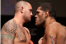 MINNEAPOLIS, MN - OCTOBER 04:  Opponents Travis Browne (L) and Antonio &quot;Bigfoot&quot; Silva (R) face off during the UFC on FX weigh in at Pantages Theater on October 4, 2012 in Minneapolis, Minnesota.  (Photo by Josh Hedges/Zuffa LLC/Zuffa LLC via Getty Images)