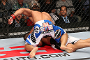 MINNEAPOLIS, MN - OCTOBER 05:  (L-R) John Dodson punches Jussier Formiga during their flyweight fight at the UFC on FX event at Target Center on October 5, 2012 in Minneapolis, Minnesota.  (Photo by Josh Hedges/Zuffa LLC/Zuffa LLC via Getty Images)