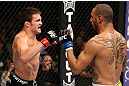 MINNEAPOLIS, MN - OCTOBER 05:  (L-R) Jake Ellenberger fires a punch at Jay Hieron during their welterweight fight at the UFC on FX event at Target Center on October 5, 2012 in Minneapolis, Minnesota.  (Photo by Josh Hedges/Zuffa LLC/Zuffa LLC via Getty Images)