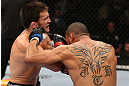 MINNEAPOLIS, MN - OCTOBER 05:  (R-L) Jay Hieron and Jake Ellenberger trade punches during their welterweight fight at the UFC on FX event at Target Center on October 5, 2012 in Minneapolis, Minnesota.  (Photo by Josh Hedges/Zuffa LLC/Zuffa LLC via Getty Images)