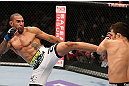 MINNEAPOLIS, MN - OCTOBER 05:  (L-R) Jay Hieron kicks Jake Ellenberger during their welterweight fight at the UFC on FX event at Target Center on October 5, 2012 in Minneapolis, Minnesota.  (Photo by Josh Hedges/Zuffa LLC/Zuffa LLC via Getty Images)