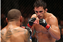 MINNEAPOLIS, MN - OCTOBER 05:  (R-L) Jake Ellenberger squares off with Jay Hieron during their welterweight fight at the UFC on FX event at Target Center on October 5, 2012 in Minneapolis, Minnesota.  (Photo by Josh Hedges/Zuffa LLC/Zuffa LLC via Getty Images)