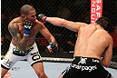 MINNEAPOLIS, MN - OCTOBER 05:  (R-L) Jake Ellenberger punches Jay Hieron during their welterweight fight at the UFC on FX event at Target Center on October 5, 2012 in Minneapolis, Minnesota.  (Photo by Josh Hedges/Zuffa LLC/Zuffa LLC via Getty Images)
