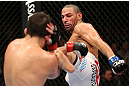 MINNEAPOLIS, MN - OCTOBER 05:  (R-L) Jay Hieron kicks Jake Ellenberger during their welterweight fight at the UFC on FX event at Target Center on October 5, 2012 in Minneapolis, Minnesota.  (Photo by Josh Hedges/Zuffa LLC/Zuffa LLC via Getty Images)