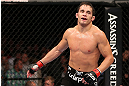 MINNEAPOLIS, MN - OCTOBER 05:  Jake Ellenberger reacts after his welterweight fight against Jay Hieron at the UFC on FX event at Target Center on October 5, 2012 in Minneapolis, Minnesota.  (Photo by Josh Hedges/Zuffa LLC/Zuffa LLC via Getty Images)