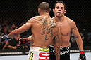 MINNEAPOLIS, MN - OCTOBER 05:  (R-L) Jake Ellenberger and Jay Hieron hug after their welterweight fight at the UFC on FX event at Target Center on October 5, 2012 in Minneapolis, Minnesota.  (Photo by Josh Hedges/Zuffa LLC/Zuffa LLC via Getty Images)