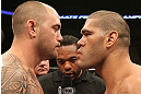 MINNEAPOLIS, MN - OCTOBER 05: Travis Browne (L) and Antonio Silva (R) receive final instructions from referee Herb Dean before their fight at the UFC on FX event on October 5, 2012 in Minneapolis, Minnesota.  (Photo by Josh Hedges/Zuffa LLC/Zuffa LLC via Getty Images)