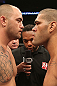 MINNEAPOLIS, MN - OCTOBER 05: Travis Browne (L) and Antonio Silva (R) receive final instructions from referee Herb Dean before their fight at the UFC on FX on October 5, 2012 in Minneapolis, Minnesota.  (Photo by Josh Hedges/Zuffa LLC/Zuffa LLC via Getty Images)
