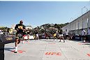 RIO DE JANEIRO, BRAZIL - OCTOBER 10:  Anderson Silva works out for fans and media during an open training session ahead of UFC 153 at Arcos da Lapa: Praca Cardeal Camara on October 10, 2012 in Rio de Janeiro, Brazil.  (Photo by Josh Hedges/Zuffa LLC/Zuffa LLC via Getty Images)