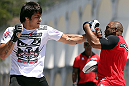 RIO DE JANEIRO, BRAZIL - OCTOBER 10:  Erick Silva works out for fans and media during an open training session ahead of UFC 153 at Arcos da Lapa: Praca Cardeal Camara on October 10, 2012 in Rio de Janeiro, Brazil.  (Photo by Josh Hedges/Zuffa LLC/Zuffa LLC via Getty Images)