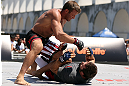 RIO DE JANEIRO, BRAZIL - OCTOBER 10:  Stephan Bonnar works out for fans and media during an open training session ahead of UFC 153 at Arcos da Lapa: Praca Cardeal Camara on October 10, 2012 in Rio de Janeiro, Brazil.  (Photo by Josh Hedges/Zuffa LLC/Zuffa LLC via Getty Images)