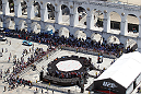 RIO DE JANEIRO, BRAZIL - OCTOBER 10: A general view of the venue before the UFC 153 open workouts at Arcos da Lapa: Praca Cardeal Camara on October 10, 2012 in Rio de Janeiro, Brazil.
