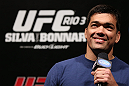RIO DE JANEIRO, BRAZIL - OCTOBER 12:  Lyoto Machida interacts with fans during a Q&amp;A session before the UFC 153 weigh in at HSBC Arena on October 12, 2012 in Rio de Janeiro, Brazil.  (Photo by Josh Hedges/Zuffa LLC/Zuffa LLC via Getty Images)