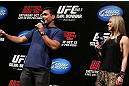 RIO DE JANEIRO, BRAZIL - OCTOBER 12:  (L-R) Lyoto Machida and Paula Sack interact with fans during a Q&A session before the UFC 153 weigh in at HSBC Arena on October 12, 2012 in Rio de Janeiro, Brazil.  (Photo by Josh Hedges/Zuffa LLC/Zuffa LLC via Getty Images)