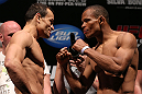 RIO DE JANEIRO, BRAZIL - OCTOBER 12:  (L-R) Opponents Gleison Tibau and Francisco Trinaldo face off during the UFC 153 weigh in at HSBC Arena on October 12, 2012 in Rio de Janeiro, Brazil.  (Photo by Josh Hedges/Zuffa LLC/Zuffa LLC via Getty Images)