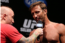 RIO DE JANEIRO, BRAZIL - OCTOBER 12:  (R-L) Stephan Bonnar is interviewed by Joe Rogan during the UFC 153 weigh in at HSBC Arena on October 12, 2012 in Rio de Janeiro, Brazil.  (Photo by Josh Hedges/Zuffa LLC/Zuffa LLC via Getty Images)
