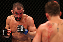 RIO DE JANEIRO, BRAZIL - OCTOBER 13:  (L-R) Reza Madadi squares off with Cristiano Marcello during their lightweight fight at UFC 153 inside HSBC Arena on October 13, 2012 in Rio de Janeiro, Brazil.  (Photo by Josh Hedges/Zuffa LLC/Zuffa LLC via Getty Images)
