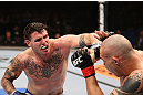 RIO DE JANEIRO, BRAZIL - OCTOBER 13:  (L-R) Chris Camozzi punches Luiz Cane during their middleweight fight at UFC 153 inside HSBC Arena on October 13, 2012 in Rio de Janeiro, Brazil.  (Photo by Josh Hedges/Zuffa LLC/Zuffa LLC via Getty Images)