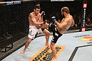 "RIO DE JANEIRO, BRAZIL - OCTOBER 13:  (R-L) Sam Sicilia kicks Rony ""Jason"" Mariano Bezerra during their featherweight fight at UFC 153 inside HSBC Arena on October 13, 2012 in Rio de Janeiro, Brazil.  (Photo by Josh Hedges/Zuffa LLC/Zuffa LLC via Getty Images)"