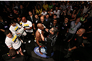 RIO DE JANEIRO, BRAZIL - OCTOBER 13:  Anderson Silva prepares to enter the Octagon before his light heavyweight fight against Stephan Bonnar at UFC 153 inside HSBC Arena on October 13, 2012 in Rio de Janeiro, Brazil.  (Photo by Josh Hedges/Zuffa LLC/Zuffa LLC via Getty Images)
