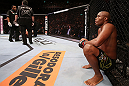 RIO DE JANEIRO, BRAZIL - OCTOBER 13:  Anderson Silva sits in his corner after his TKO victory over Stephan Bonnar during their light heavyweight fight at UFC 153 inside HSBC Arena on October 13, 2012 in Rio de Janeiro, Brazil.  (Photo by Josh Hedges/Zuffa LLC/Zuffa LLC via Getty Images)