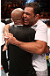 RIO DE JANEIRO, BRAZIL - OCTOBER 13:  (L-R) Anderson Silva and his teammate Antonio Rodrigo &quot;Minotauro&quot; Nogeuira celebrate after Silva&#39;s victory over Stephan Bonnar during their light heavyweight fight at UFC 153 inside HSBC Arena on October 13, 2012 in Rio de Janeiro, Brazil.  (Photo by Josh Hedges/Zuffa LLC/Zuffa LLC via Getty Images)
