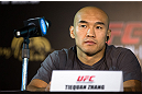 HONG KONG - NOVEMBER 07:  Tiequan Zhang looks on during a UFC press conference at Harbour City Mall on November 7, 2012 in Hong Kong, Hong Kong.  (Photo by Josh Hedges/Zuffa LLC/Zuffa LLC via Getty Images)