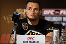 HONG KONG - NOVEMBER 07:  Rich Franklin speaks during a UFC press conference at Harbour City Mall on November 7, 2012 in Hong Kong, Hong Kong.  (Photo by Josh Hedges/Zuffa LLC/Zuffa LLC via Getty Images)