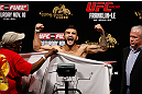 MACAU, MACAU - NOVEMBER 09:  John Lineker makes weight during the UFC Macau weigh in at Cotai Arena on November 9, 2012 in Macau, Macau.  (Photo by Josh Hedges/Zuffa LLC/Zuffa LLC via Getty Images)