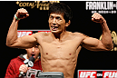 MACAU, MACAU - NOVEMBER 09:  Takeya Mizugaki makes weight during the UFC Macau weigh in at Cotai Arena on November 9, 2012 in Macau, Macau.  (Photo by Josh Hedges/Zuffa LLC/Zuffa LLC via Getty Images)