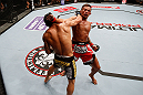 MACAU, MACAU - NOVEMBER 10: (L-R) John Lineker punches Yasuhiro Urushitani during their flyweight bout at the UFC Macao event inside CotaiArena on November 10, 2012 in Macau, Macau. (Photo by Josh Hedges/Zuffa LLC/Zuffa LLC via Getty Images)