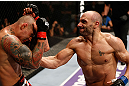 MACAU, MACAU - NOVEMBER 10: (R-L) Stanislav Nedkov punches Thiago Silva during their light heavyweight bout at the UFC Macao event inside CotaiArena on November 10, 2012 in Macau, Macau. (Photo by Josh Hedges/Zuffa LLC/Zuffa LLC via Getty Images)