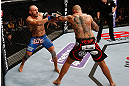 MACAU, MACAU - NOVEMBER 10: (R-L) Thiago Silva punches Stanislav Nedkov during their light heavyweight bout at the UFC Macao event inside CotaiArena on November 10, 2012 in Macau, Macau. (Photo by Josh Hedges/Zuffa LLC/Zuffa LLC via Getty Images)