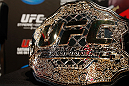 MONTREAL, CANADA - NOVEMBER 14:  A UFC championship belt is seen during the final pre-fight press conference ahead of UFC 154 at New City Gas on November 14, 2012 in Montreal, Quebec, Canada.  (Photo by Josh Hedges/Zuffa LLC/Zuffa LLC via Getty Images)