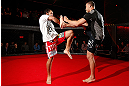 MONTREAL, CANADA - NOVEMBER 15:  Johny Hendricks works out for media and fans during an open training session ahead of UFC 154 at New City Gas on November 15, 2012 in Montreal, Quebec, Canada.  (Photo by Josh Hedges/Zuffa LLC/Zuffa LLC via Getty Images)