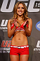 MONTREAL, CANADA - NOVEMBER 16:  UFC Octagon Girl Brittney Palmer stands on stage during the official UFC 154 weigh in at New City Gas on November 16, 2012 in Montreal, Quebec, Canada.  (Photo by Josh Hedges/Zuffa LLC/Zuffa LLC via Getty Images)