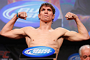 MONTREAL, CANADA - NOVEMBER 16:  Darren Elkins weighs in during the official UFC 154 weigh in at New City Gas on November 16, 2012 in Montreal, Quebec, Canada.  (Photo by Josh Hedges/Zuffa LLC/Zuffa LLC via Getty Images)